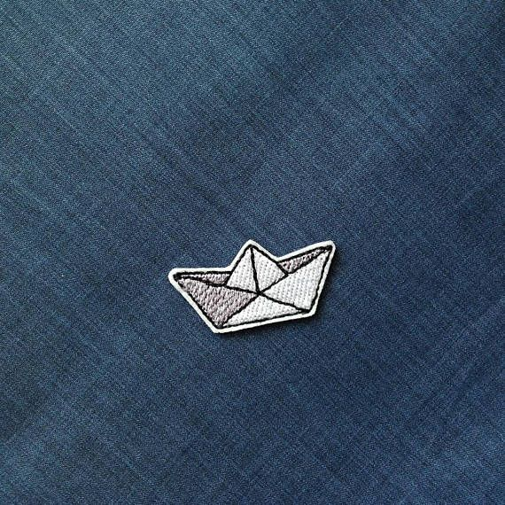 Paper boat origami patch Small patch iron on patch Embroidered patches for jackets $2.90 #boat #patch #paperboat