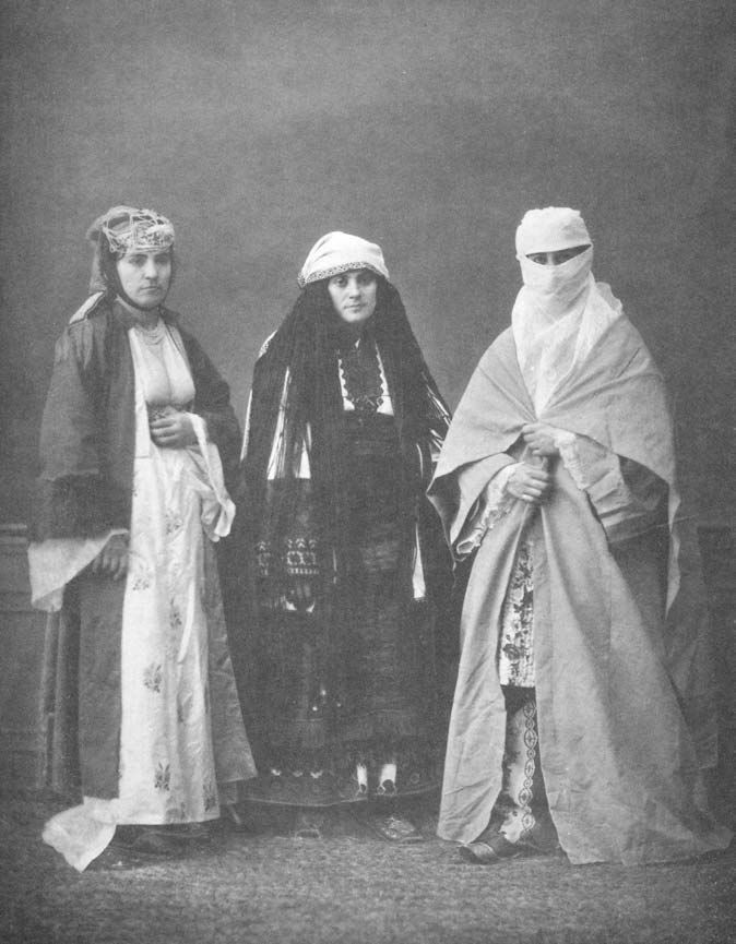 "Three women from the home state of ""Thessaloniki,"" the province of Central Macedonia in the Ottoman Empire, from left to right, ""Christian"", ""Jewish,"" ""Muslim"" in 1873."