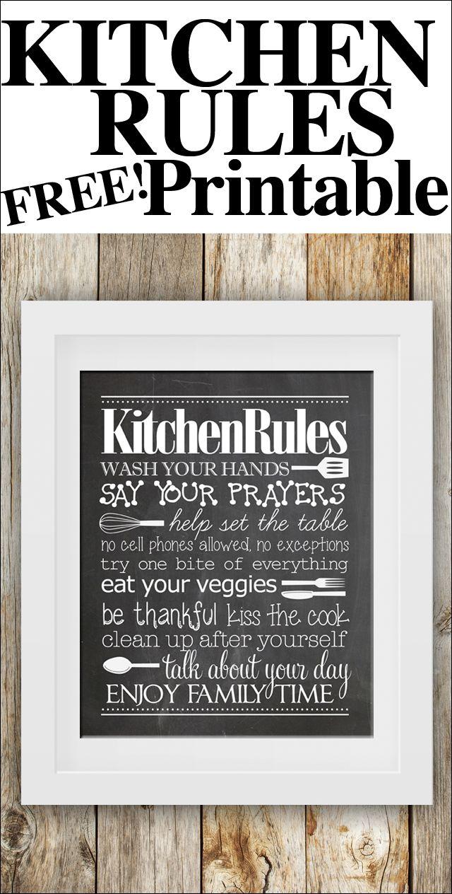 kitchen rules free printable!