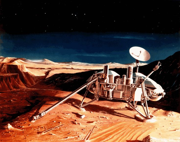 Prior to launch, Lockheed Martin (then Martin Marietta) employee Charles Bennett painted this acrylic watercolor painting of a Viking lander on the surface of Mars. Image Credit: Lockheed Martin