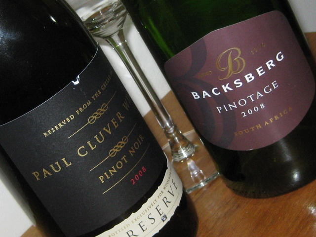 Delious Paul Cluver Pinot Noir 2008 & Backsberg Pinotage 2008, fine wines from the Cape Winelands