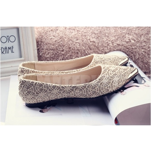 Womens Ballets Pumps Lace Pointed Metal Toe Flats