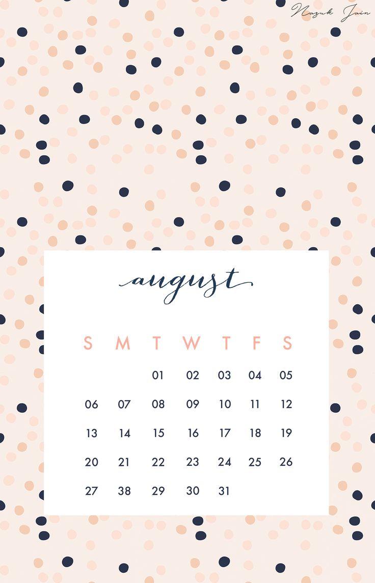 August   Free Calendar Printables 2017 By Nazuk Jain