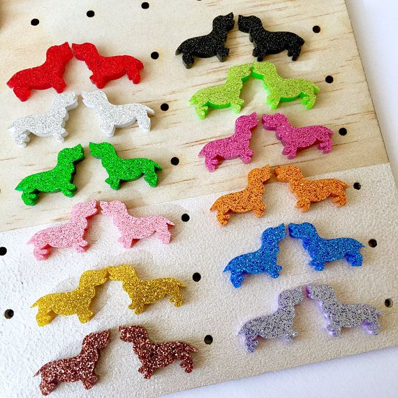 Dachshund Glitter Earrings pick your colours  nickel free