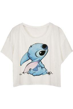 White Loose Stitch Printed Ladies T-shirt