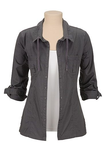 Metallic Button Front Shirt Jacket (original price, $39) available at #Maurices
