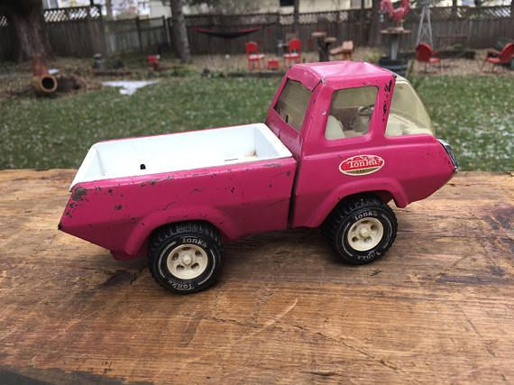 Vintage Pink Metal Tonka Truck Retro Tonka Toy Pickup Truck