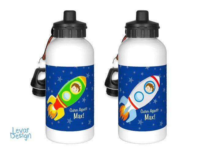 Trinkflaschen - Trinkflasche mit Namen für Kinder - Rakete - ein Designerstück von LEVARDESIGN bei DaWanda