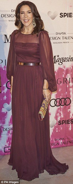 Glamour: In October she wore a floor-length plum gown to attend the Magasin Awards dinner ...