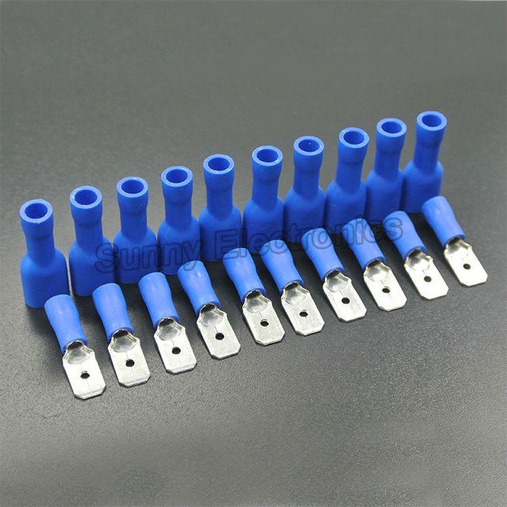 100 Stks (50 Pairs) 4.8mm Vrouwelijke Mannelijke Elektrische & Bedrading Connector Geïsoleerde Crimp Terminal Spade