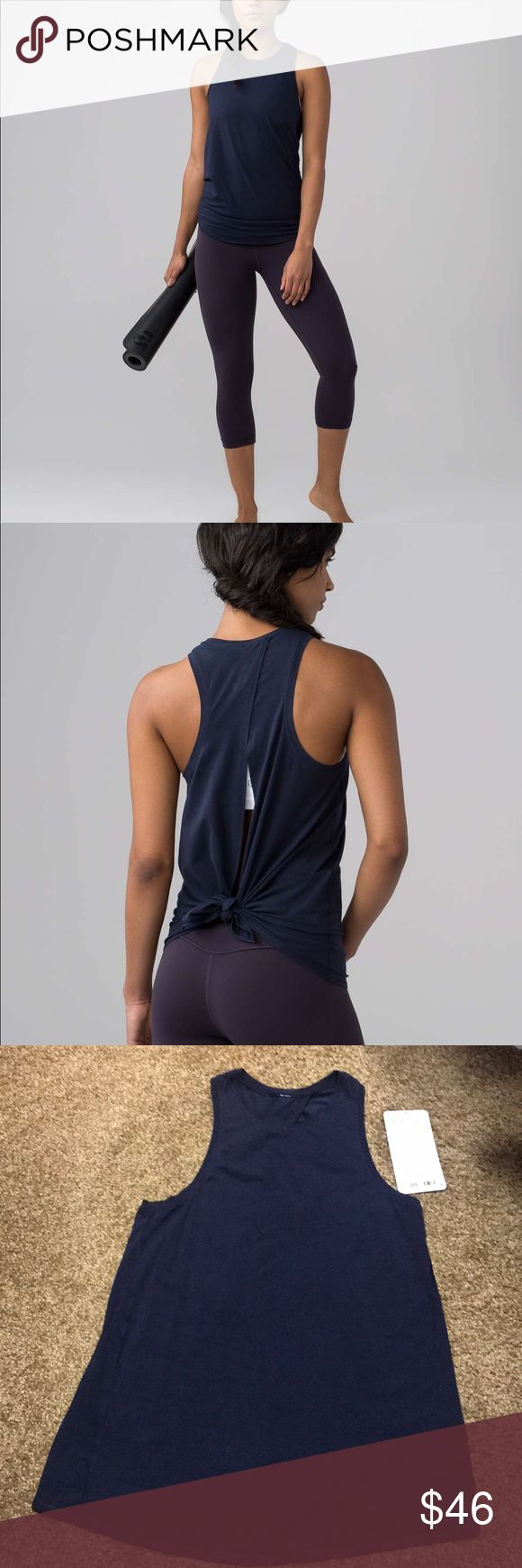Lululemon All Tied Up Tank Midnight Navy Like new Lululemon All Tied Up Tank Midnight Navy size 4 lululemon athletica Tops Muscle Tees