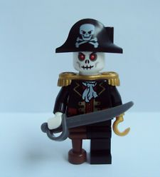LEGO Skeleton Captain | Lego Zombie Skeleton Captain Brickbeard Pirate Minifigure With Sword ...