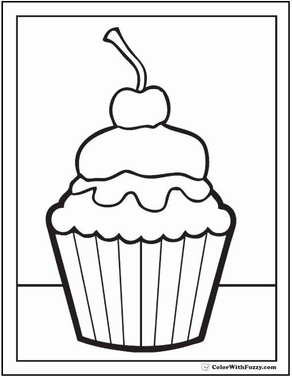 Happy Birthday Cupcake Coloring Pages Elegant 40 Cupcake ...