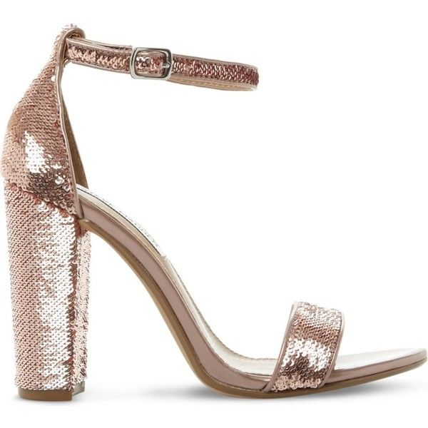 Steve Madden Carsson sequin sandals (1 105 ZAR) ❤ liked on Polyvore featuring shoes, sandals, evening shoes, block shoes, open toe sandals, block-heel sandals and color block shoes