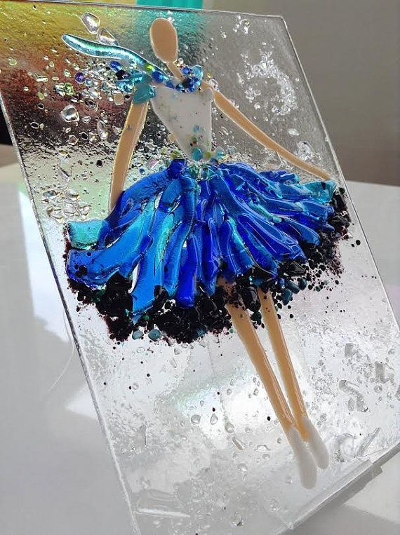 Fused glass wall art Ballerina fused glass by SevenGlassElena