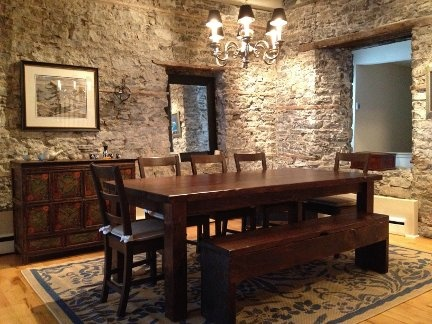 love this room!!!!  Seven Foot Gathering Table with Matching Slip Under Storage Bench landed in it's Downtown Ottawa Heritage Home.