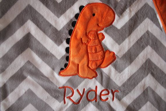 Baby Blanket 16 x 16 or 29 x 35 no tags dinosaur blanket by isewjo @BabyList Baby Registry