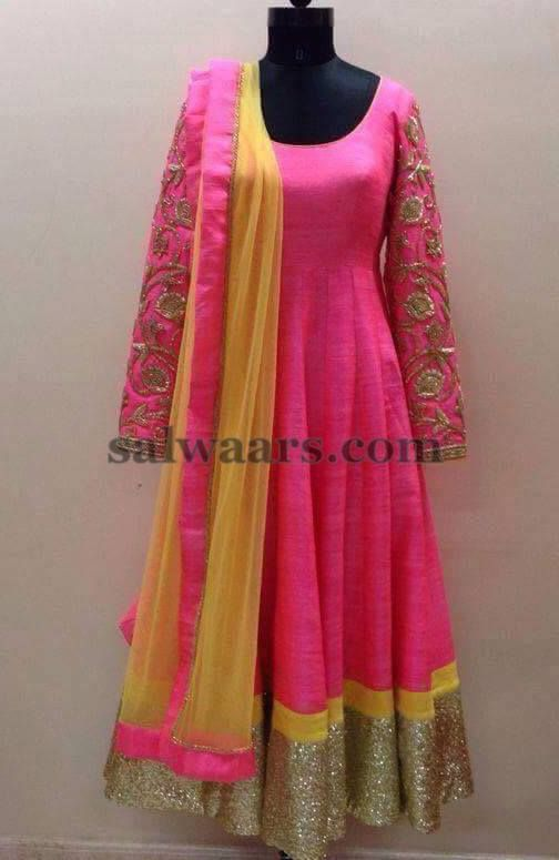 Silk Salwar with Thread Sleeves - Indian Dresses