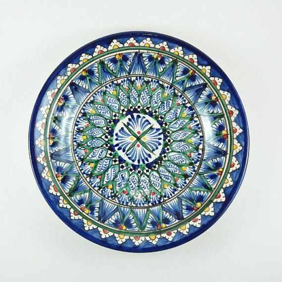 Decorative Plates On Wall Dish Plate Art Uzbekistan Ceramic Blue And Green Plates Decorative Pla Handcrafted Pottery Decorative Plates Display Plate Display