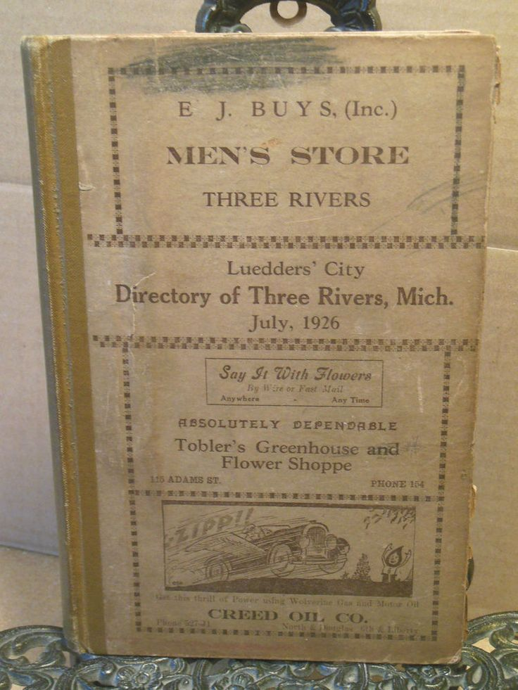 1926 THREE RIVERS MICHIGAN Leudders' City Directory~History~Genealogy