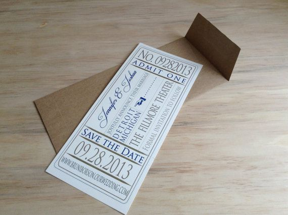 Wedding Save the Date - Event Ticket -