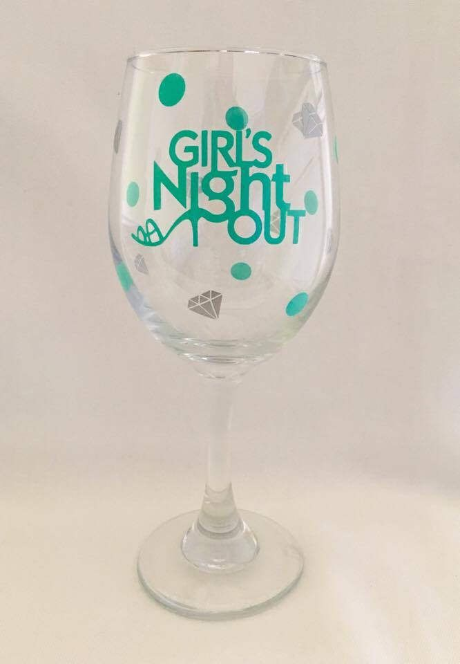 A personal favorite from my Etsy shop https://www.etsy.com/listing/502979832/girls-night-out-wine-glasswine