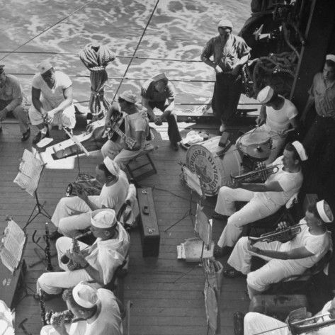 Members of Ship's Band Aboard US Navy Cruiser Playing on Deck, Daily Musical Practice During WWII