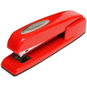 "Because nothing says ""I could set the building on fire"" like a red stapler.  Somebody else's building, of course."