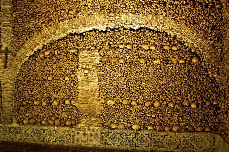 Wall of Bones in the chapel in Evora, Portugal