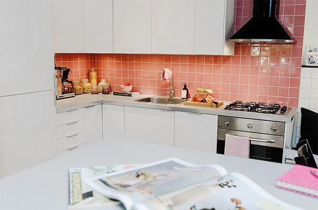 Decoração apartamento de 65m²: azulejos cor de rosa! Apartamento feminino!