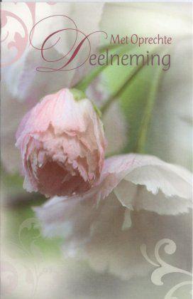 Wenskaart overlijden met bloemen