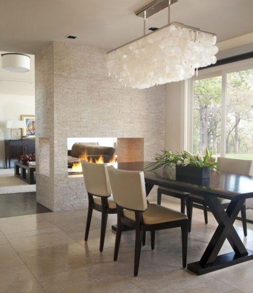 fireplace, light fixtureContemporary Home, Dining Rooms, Ideas, Lights Fixtures, Contemporary Dining Room, Fireplaces, Living Room, Diningroom, Design