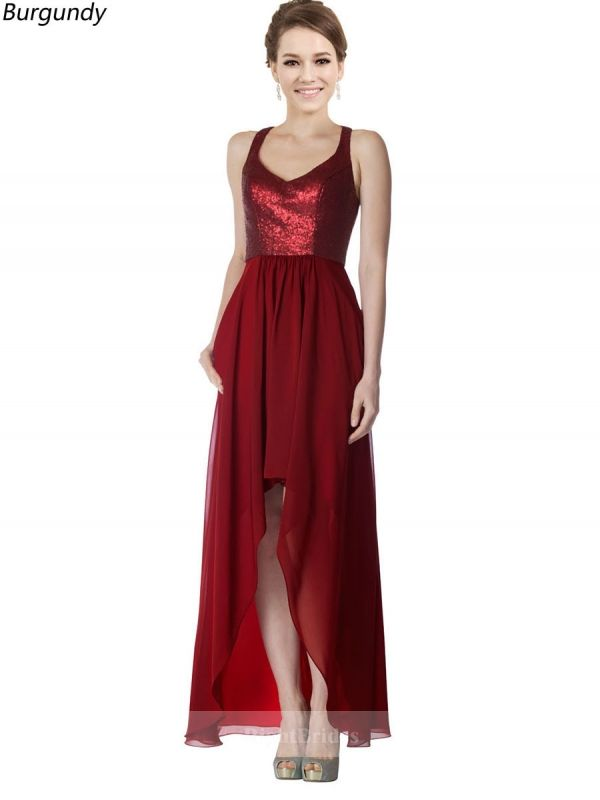 e1286320785 Pretty Scoop High Low Chiffon Sequin Lace Burgundy Sleeveless Bridesmaid  Dresses 171385