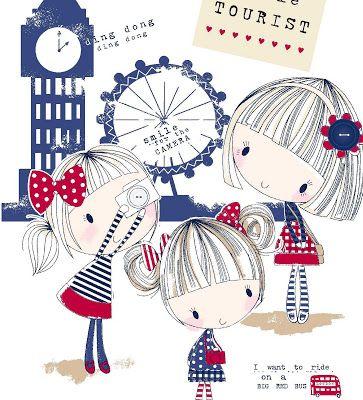 Todo sobre el patrón de superficie, textiles y gráficos: chicas blancas y azules Unos cuantos rojos