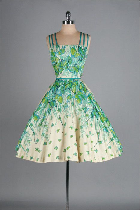 Vintage 1950s Dress  Glitter Butterflies