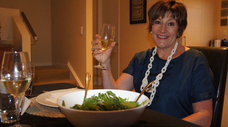 I celebrate with a glass of wine as my Free Range Foodies dinner rolls out! #afreerangelife @Annabel Langbein