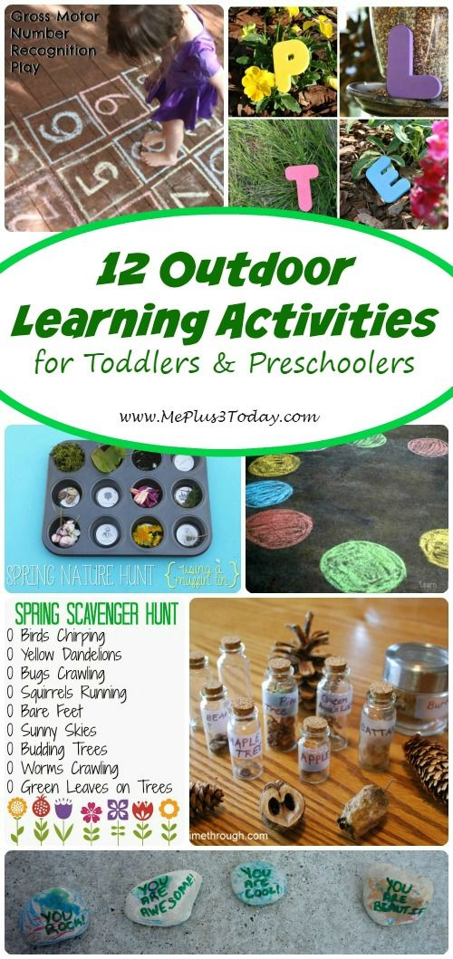 12 Outdoor Learning Activities for Toddlers and Preschoolers - So many great ideas to try during spring and summer! I love the printable from #6! - www.MePlus3Today.com
