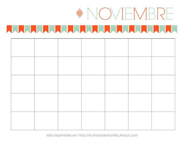 Calendarios Personalizables: Calendario de Noviembre