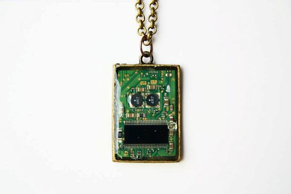 Cyberpunk Necklace with pcb Mr. Roboto by JeanneNoireRepunked