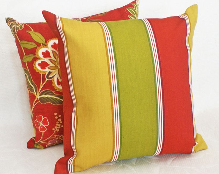 Colorful Patio Pillows, Striped, Outdoor, Decorative Throw Pillow, Cushion  Covers, Red
