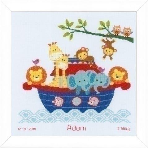 Vervaco geboortetegel diertjes in de boot 0155838
