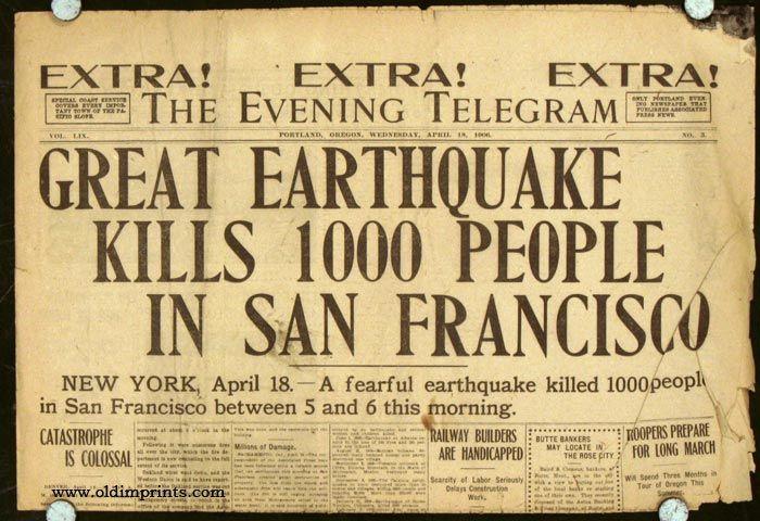 San Francisco Earthquake 1906 Newspaper | 1906 San Francisco Earthquake newspaper headlines. FIVE ISSUES. The ...