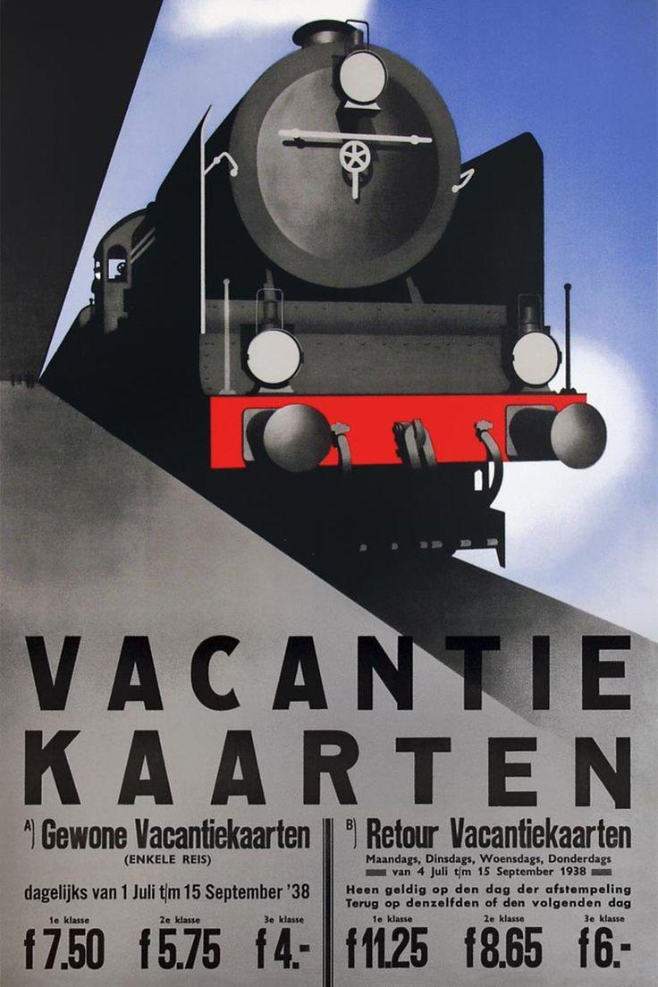 Affiche Vakantiekaarten, 1938   Jean Walther (Van Sabben Poster Auctions)