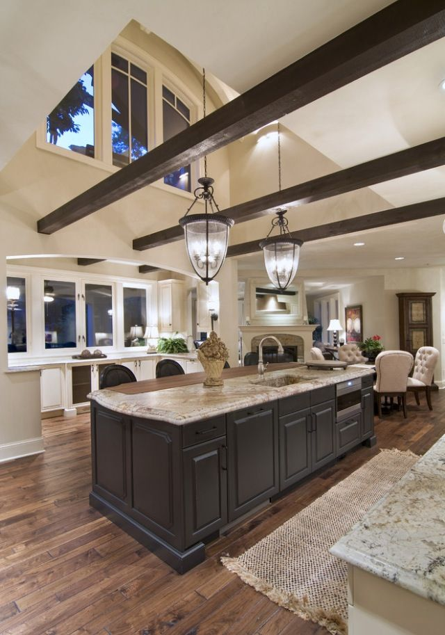 Traditional kitchen beams and vaulted ceilings home for Great kitchen remodel ideas