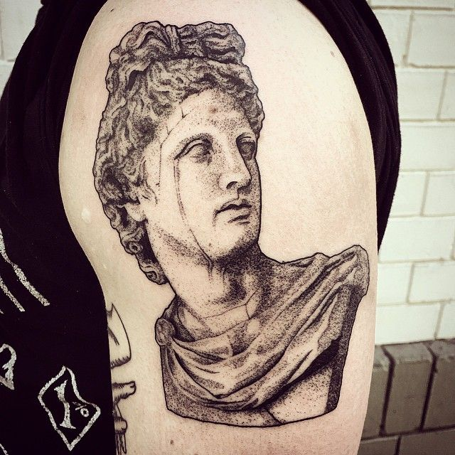 apollo for reece #tattoo #dotwork #bust #statue #sculpture #blackworkerssubmission #TTT #apollo #kouros #deity…
