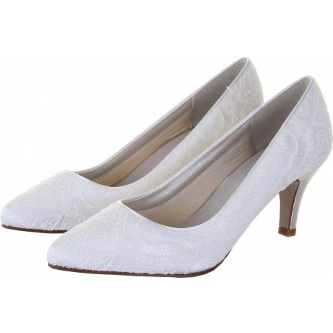 Britt by Rainbow Club Ivory or White Vintage Lace Dyeable Satin Wedding or Occasion Shoes