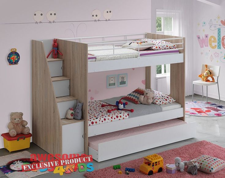 Calypso Single Bunk Bed is exclusive to Awesome Beds 4 Kids. The Calypso is the perfect all in one space saving solution for your kids room. Fantastic modern designed bunk that features a single bunk bed with easy walk up stairs with storage. Single trundle on castors to use for sleepovers or use as a large storage drawer