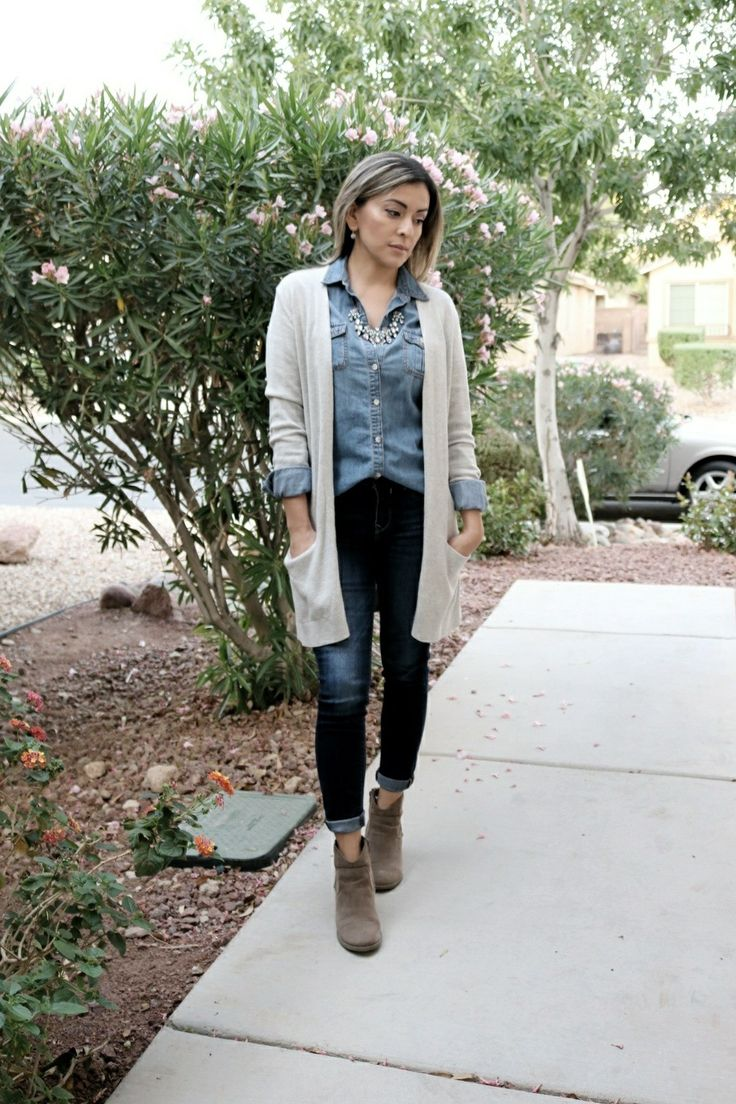 Denim on denim outfit, chambray shirt outfit, cardigan outfit, fall outfits, layering outfits