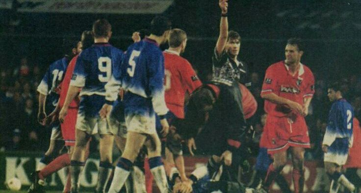 Ipswich Town 1 Gillingham 0 in Nov 1996 at Portman Road. Simon Ratcliffe is shown the red card for Gillingham on 79 minutes in the League Cup 4th Round.