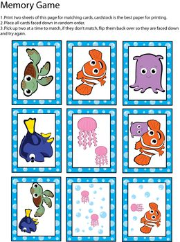 Memory Game, Finding Nemo, Games - Free Printable Ideas from Family Shoppingbag.com